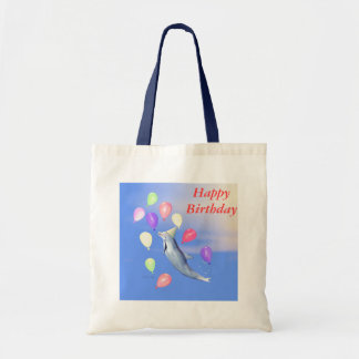 Happy Birthday Dolphin and Balloons Tote Bag