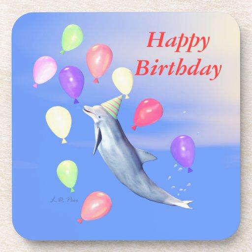 Happy Birthday Dolphin and Balloons Coaster