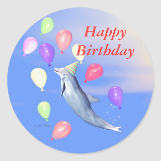 Happy Birthday Dolphin Round Sticker