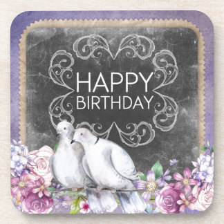 Happy birthday doves drink coaster