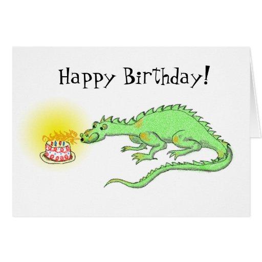 Happy Birthday Dragon & cake card