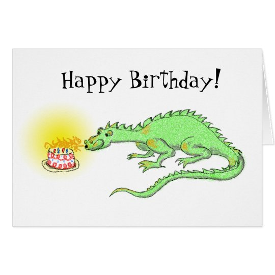 Happy Birthday Dragon & cake card
