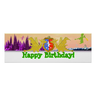 Happy Birthday Dragon Party Banner Poster