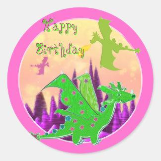 Happy Birthday Dragon Stickers
