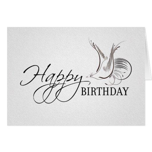 Happy Birthday Elegant White Vintage Bird Card
