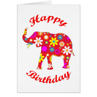 Happy Birthday Elephant funky retro greeting card