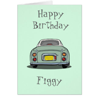Happy Birthday Emerald Green Nissan Figaro Greeting Card