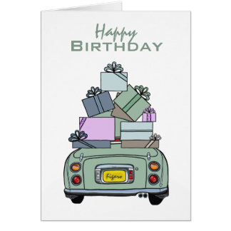 Happy Birthday Emerald Green Nissan Figaro, Custom Greeting Card
