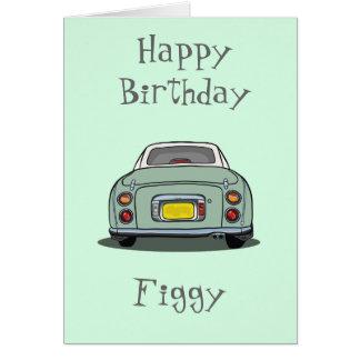 Happy Birthday Emerald Green Nissan Figaro Greeting Card