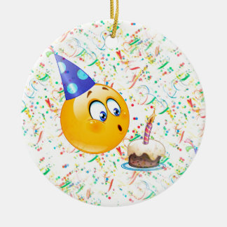 happy birthday emoji christmas ornament