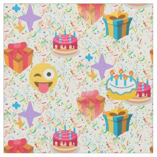 happy birthday emoji fabric