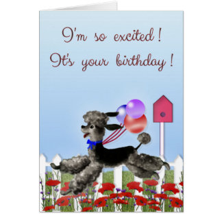 Happy Birthday, Excited Black Poodle in a Garden Card