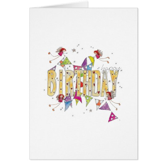 Happy Birthday - Fairies and Bunting Card