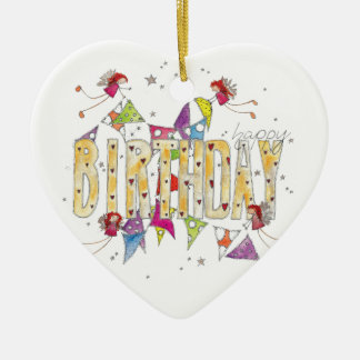 Happy Birthday - Fairies and Bunting Ceramic Heart Decoration