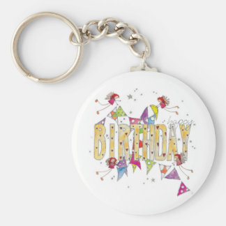 Happy Birthday - Fairies and Bunting Key Ring