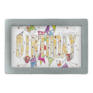 Happy Birthday - Fairies and Bunting Rectangular Belt Buckle