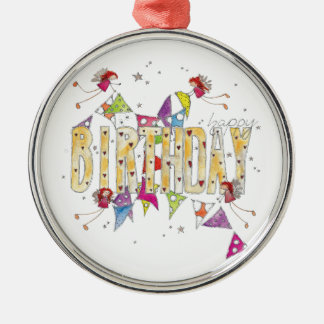 Happy Birthday - Fairies and Bunting Silver-Colored Round Decoration