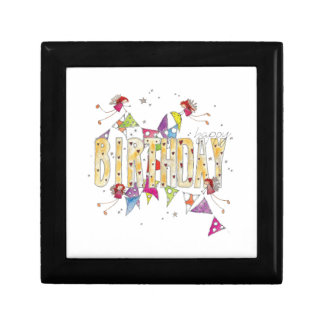 Happy Birthday - Fairies and Bunting Small Square Gift Box