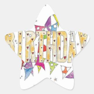 Happy Birthday - Fairies and Bunting Star Sticker