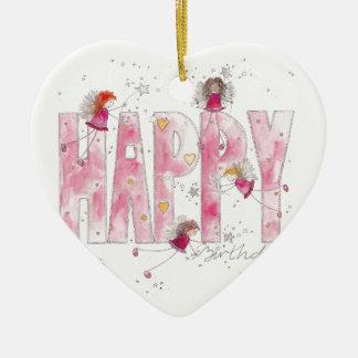 Happy Birthday Fairies Ceramic Heart Decoration