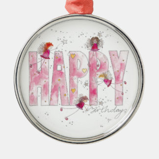 Happy Birthday Fairies Silver-Colored Round Decoration