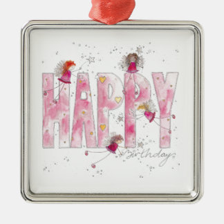 Happy Birthday Fairies Silver-Colored Square Decoration