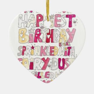 Happy Birthday Fairy Dust Ceramic Heart Decoration