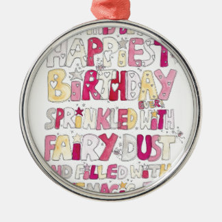 Happy Birthday Fairy Dust Silver-Colored Round Decoration