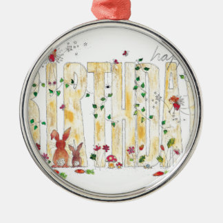 Happy Birthday -Fairy Woodland Silver-Colored Round Decoration