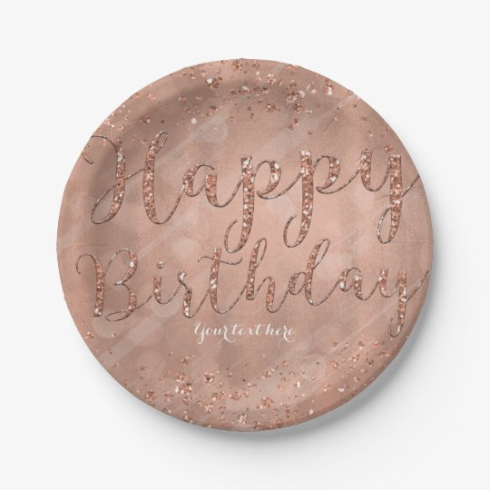 Happy Birthday Faux Rose Gold Glitter Glam Party