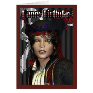 Happy Birthday Female Pirate Greeting Card