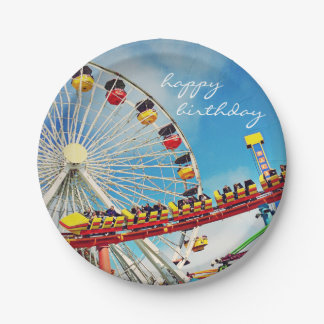"""Happy Birthday"" ferris wheel photo paper plate 7 Inch Paper Plate"