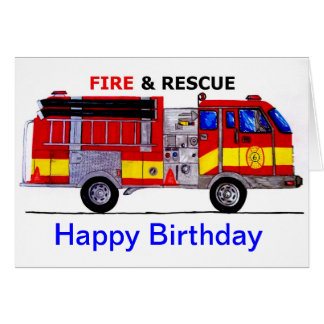 Happy Birthday Fire Truck Card