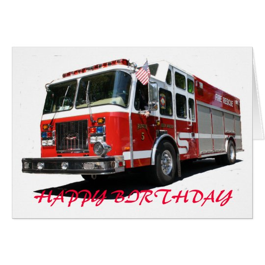 HAPPY BIRTHDAY Fire Truck Card