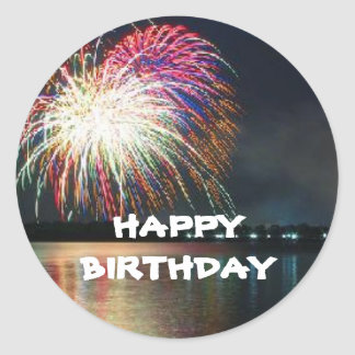 HAPPY BIRTHDAY Fireworks at the Lake Celebration Classic Round Sticker
