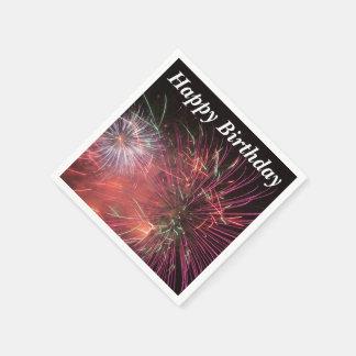 Happy Birthday Fireworks on napkins Disposable Serviette