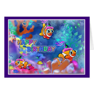 Happy Birthday Fish style 014 Greeting Cards