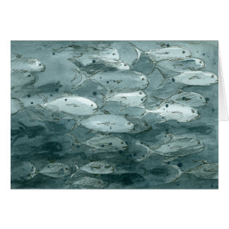Happy Birthday Fish Values Gray Scale Watercolor Card