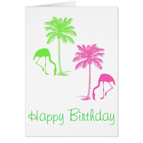 Happy Birthday Flamingos Palm Trees Pink Green Card