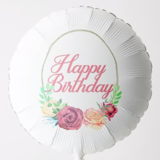 happy birthday floral balloon