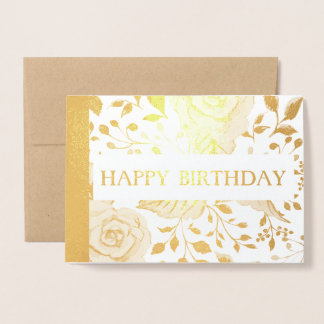 happy birthday Floral Gold Foil Card