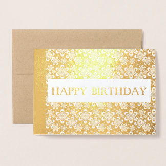 happy birthday Floral Golden Elegant Foil Card