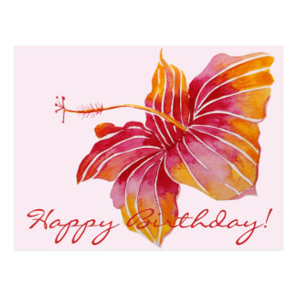 Happy Birthday  | Floral Hawaii Postcard