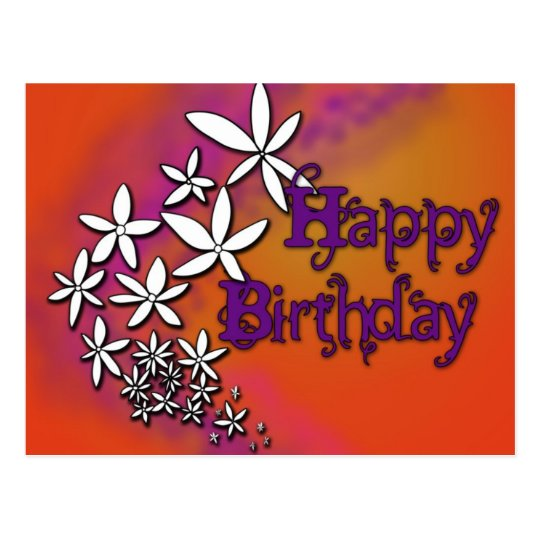 Happy Birthday - Floral - Postcard