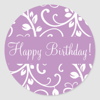 Happy Birthday Floral Vine Envelope Sticker Seal