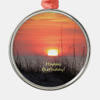 Happy Birthday Florida Sunset Christmas Ornament