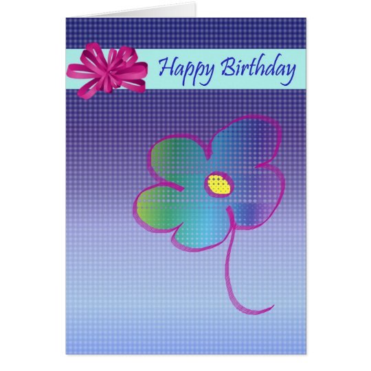 Happy Birthday Flower and Bow Design Card