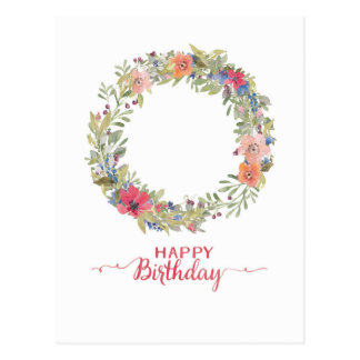 Happy Birthday flower ring water color Postcard