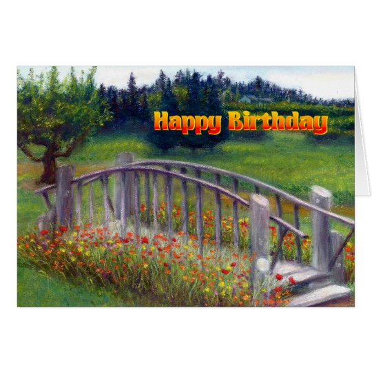 Happy Birthday Flowers & Footbridge - Ladybug Lane
