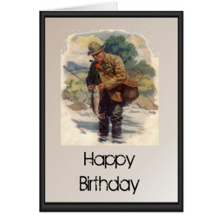 Happy Birthday - Fly fishing in the river Greeting Card